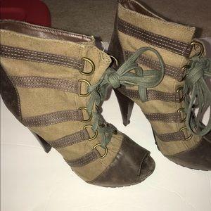 Peep toe heels shades of green and khaki